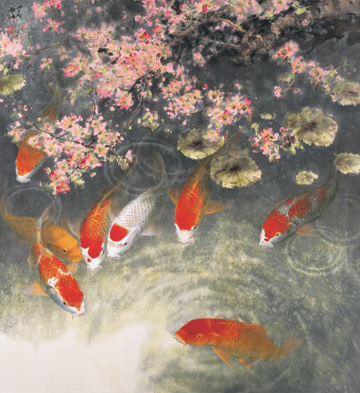 1000 images about zhao fu on pinterest fine art gallery for Chinese koi pond